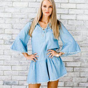 NWT Boho Blue Denim Fringe Dress